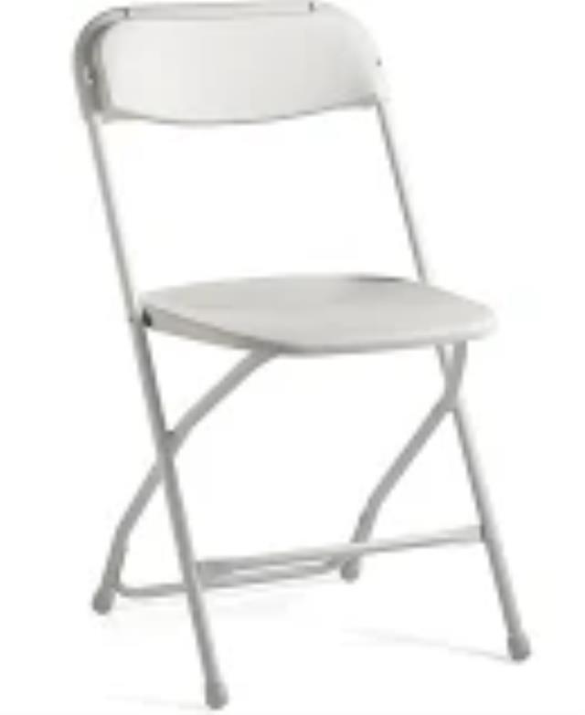 Where to find CHAIR WHITE WEDDING PLASTIC in Garland