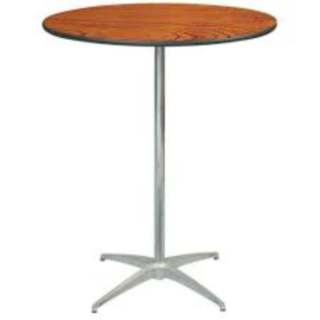 Where to find TABLE 30  ROUND WOOD STANDING BAR in Garland