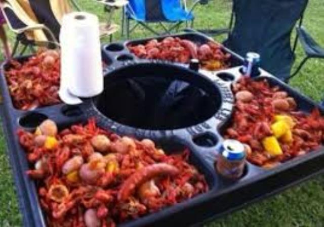 Where to find TABLE, CRAWFISH TOP W  TRASHCAN in Garland